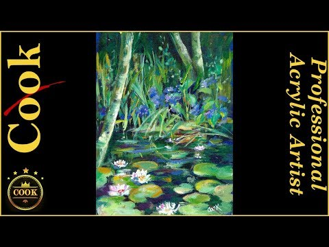 Lily Pad Water Garden Pond A Beginners Acrylic Painting Tutorial