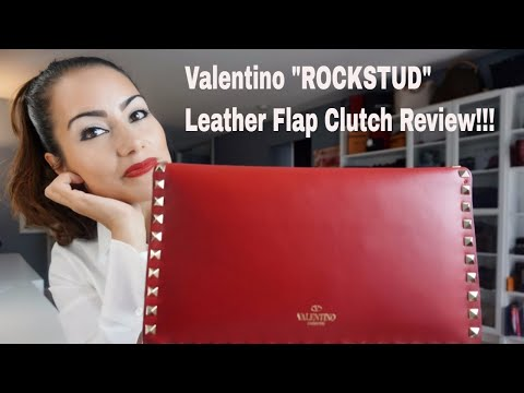 """valentino-""""rockstud""""-leather-flap-clutch---review!"""