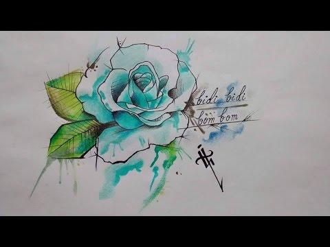 Rosa Acuarela Aquarelle Rose Design Nosfe Ink Tattoo Youtube