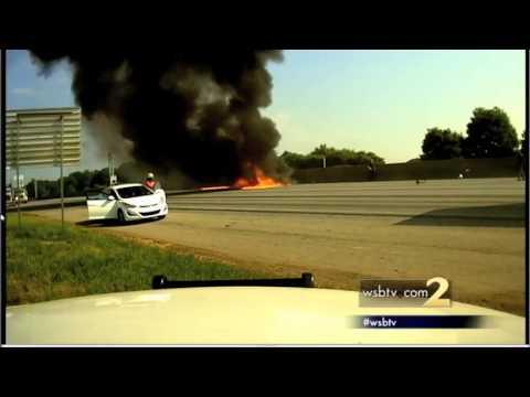 RAW VIDEO: Dash cam captures fatal plane crash on I-285