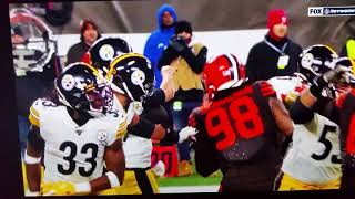 Juju Smith-Schuster #19 3 man hit Steelers/Browns