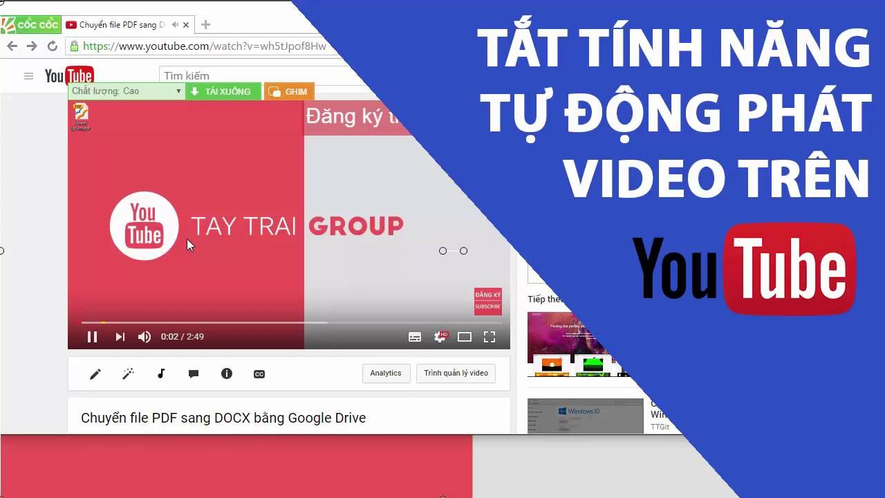 Tắt tính năng tự động phát video trên Youtube