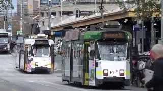 Melbourne street life, winter, July 2014, trams