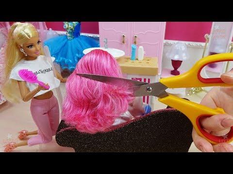 Barbie Doll Hair Style Salon - Dolls hair cut, hair dye in HOT PINK