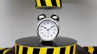 EXPERIMENT HYDRAULIC PRESS 100 TON vs Alarm Clock