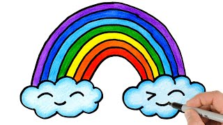 How to Draw a Rainbow and Clouds | Easy Drawing and Coloring for kids