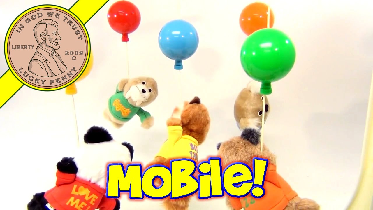 Vintage Shirt Tales Baby Room Mobile Stuffed Animal Wind Up Music