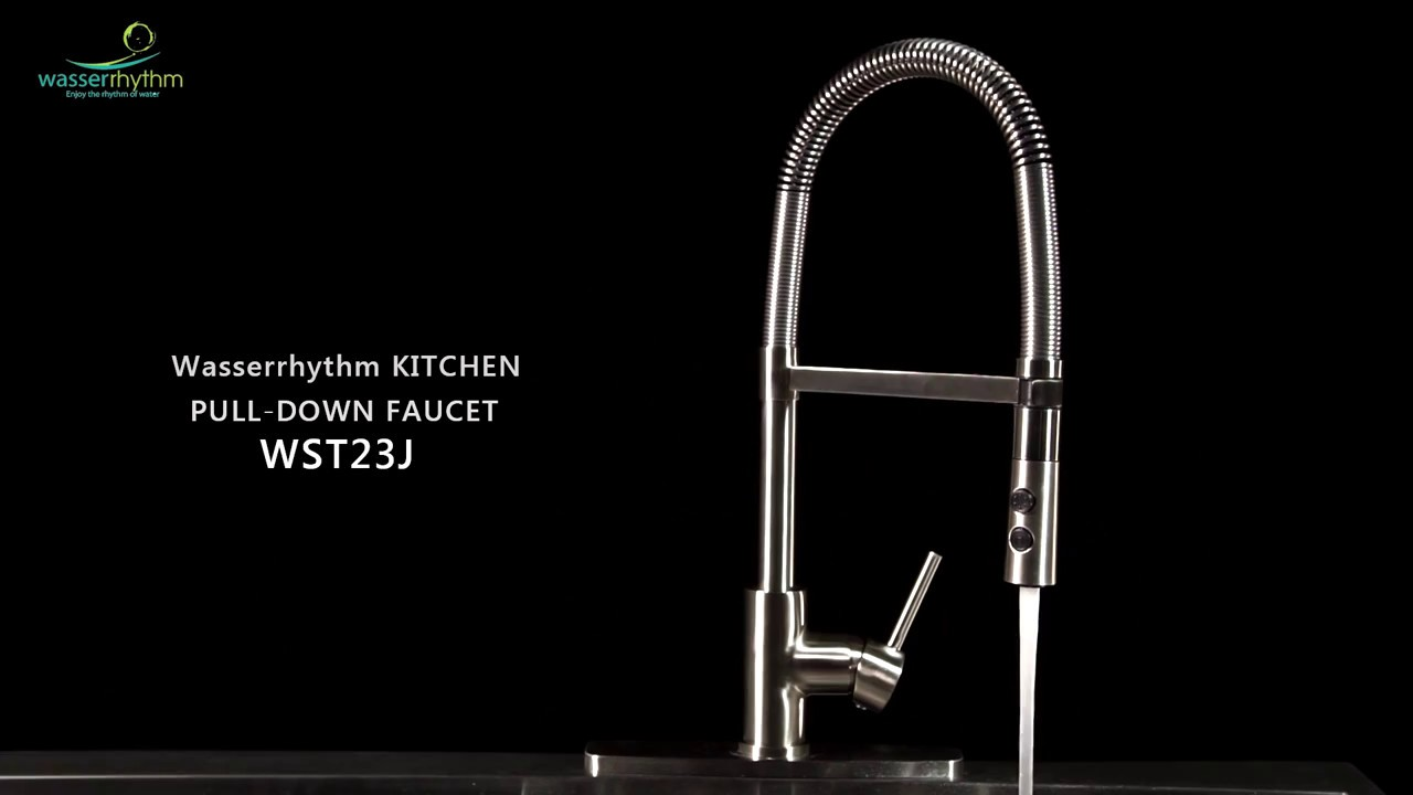 Pull Out Sprayer Spring Kitchen Faucet Brushed Nickel with ...