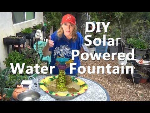 DIY Solar Water Fountain Candle Stick / Bowl Sun Powered Birdbath Garden Pond Attracting Birds