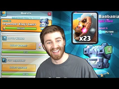 FIRST EVER LEGENDARY KINGS CHEST QUEST OPENING! | Clash Royale | MAX BARBARIAN BARREL HUNT!