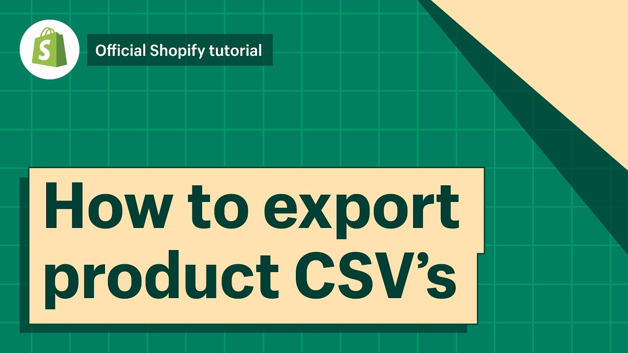 Exporting products · Shopify Help Center