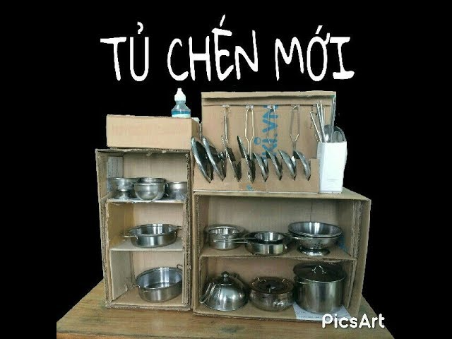 T? CHÉN M?I CHO B? ?? CH?I N?U ?N MINI/ NEW CARDBOARD CABINET FOR COOKING TOYS