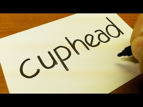 How to turn words CUPHEAD into a Cartoon - Drawing doodle art on paper