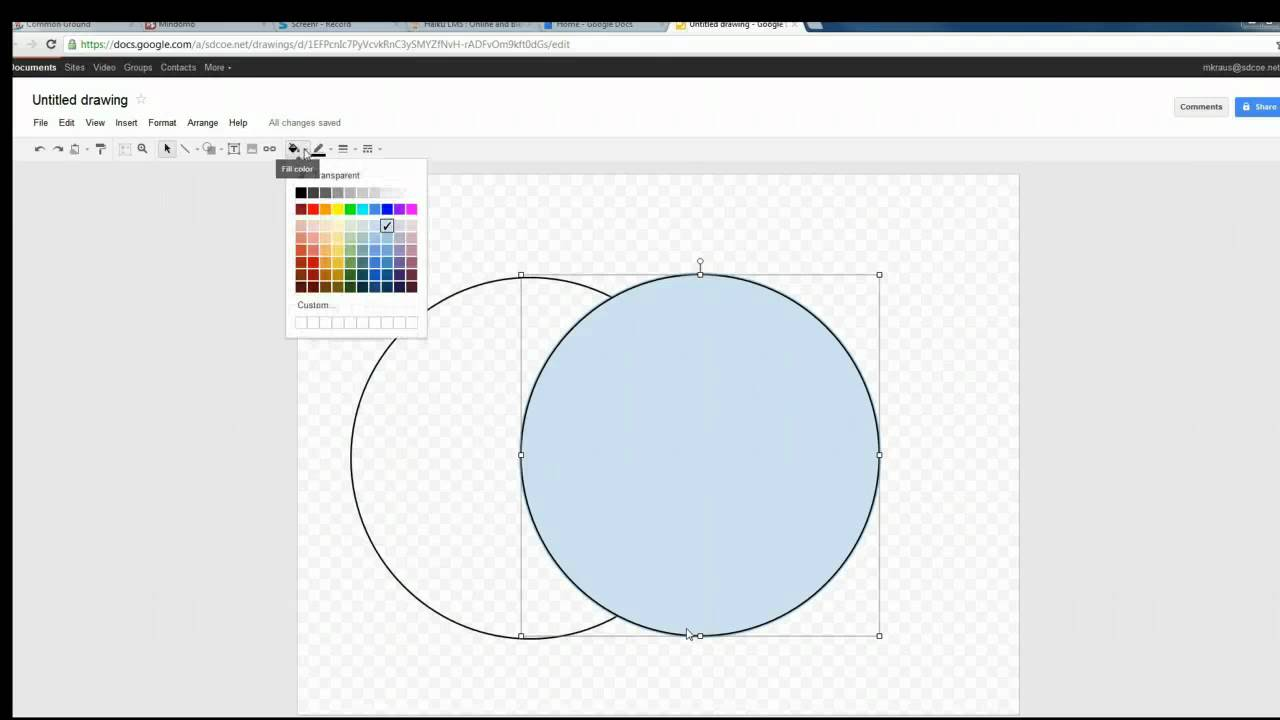 creating a venn diagram in google draw youtube  [ 1280 x 720 Pixel ]