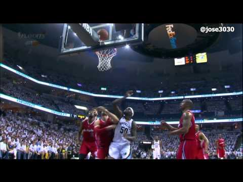 Zach Randolph Goes Down Hard, Does Pushups - 2012 NBA Playoffs (Clippers @ Grizzlies)