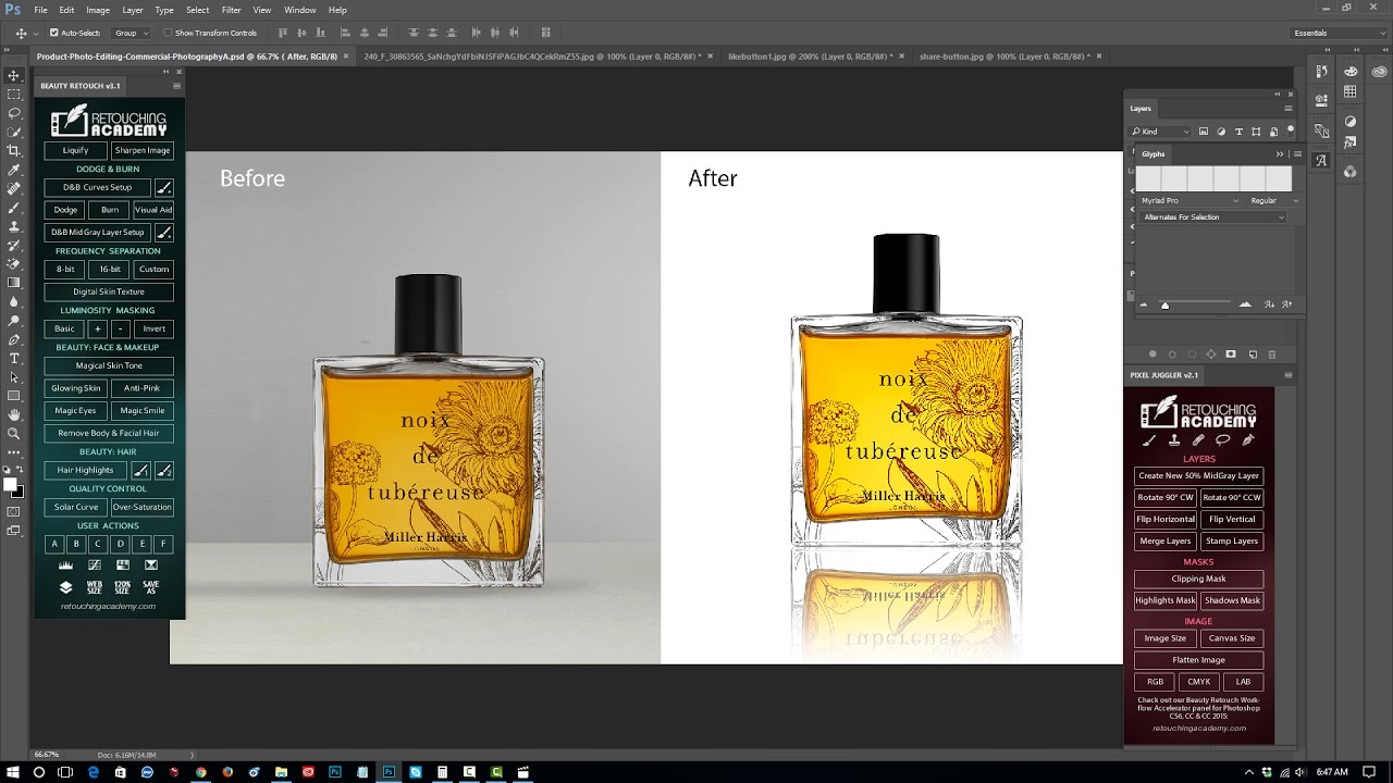 Professional product retouching and mirror reflection