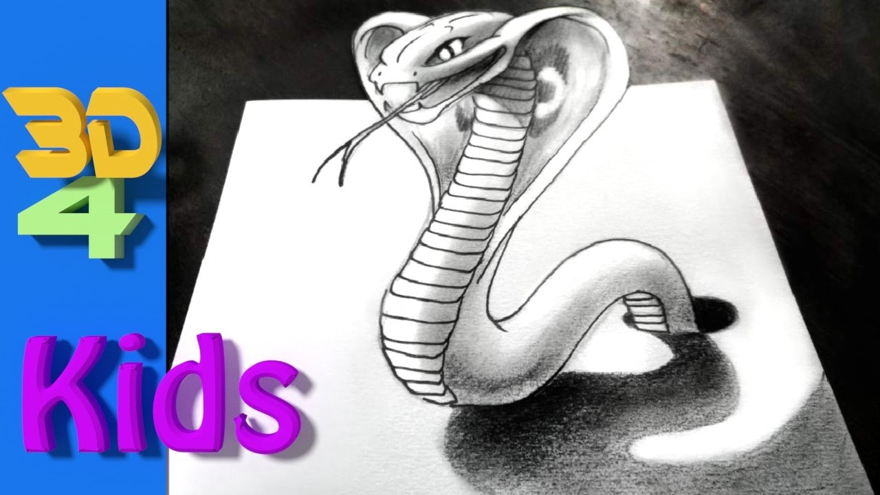 How To Draw A Cobra Snake For Kids