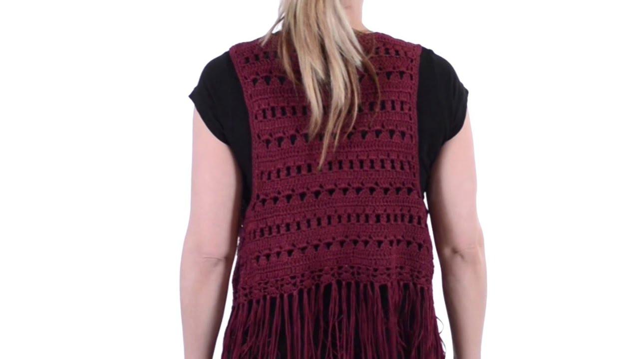 Ethyl Fringed Crochet Vest (For Women) - YouTube