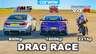 BMW M5 v Nissan GT-R v Ducati V4R - DRAG RACE *tuned cars vs stock bike*