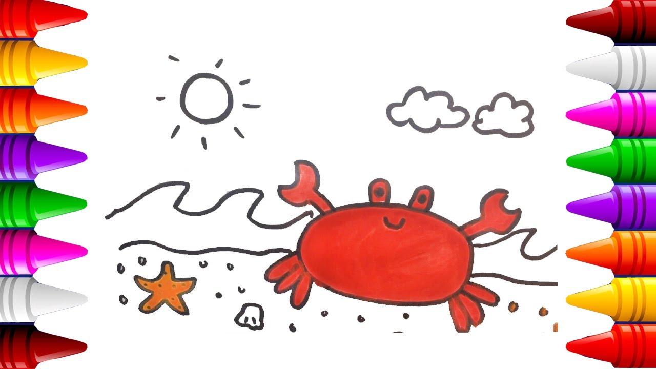 Cangrejo Dibujos para colorear | Dibujar cangrejo facil | Videos ...