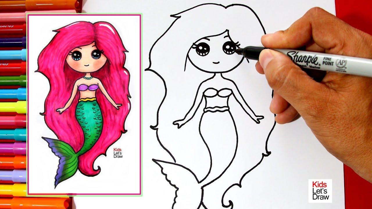 C mo dibujar y pintar una sirena kawaii f cil learn to - Unas modelos para pintar ...