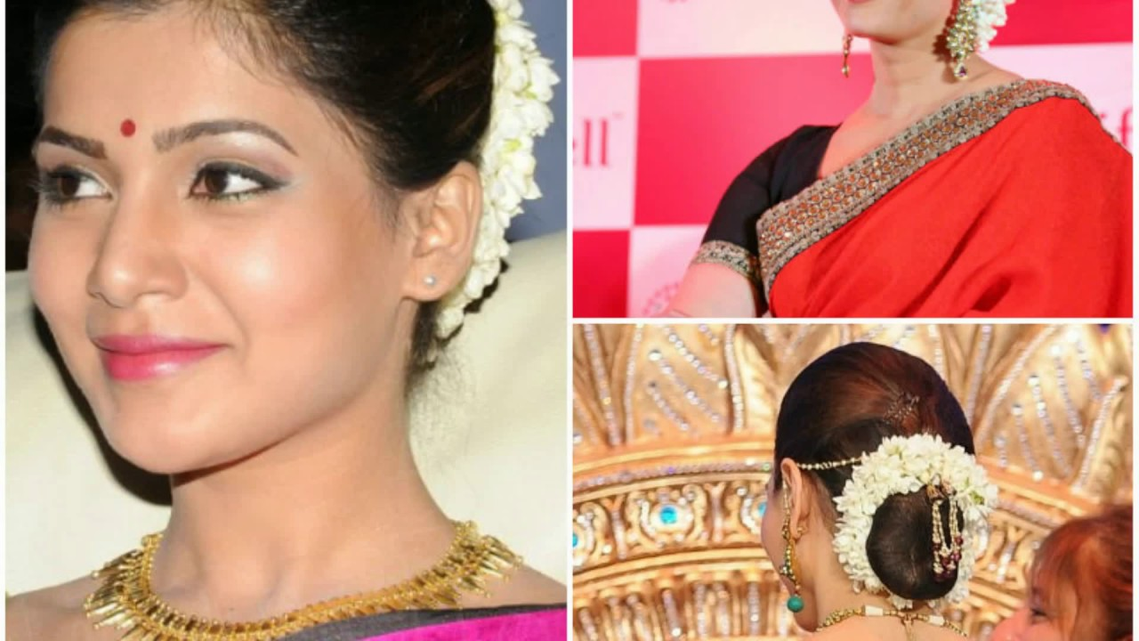 hairstyle for short hair on saree