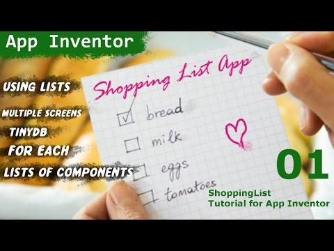 Learn app inventor Make a shopping list planner APP tutorial 01 narrated!  :D