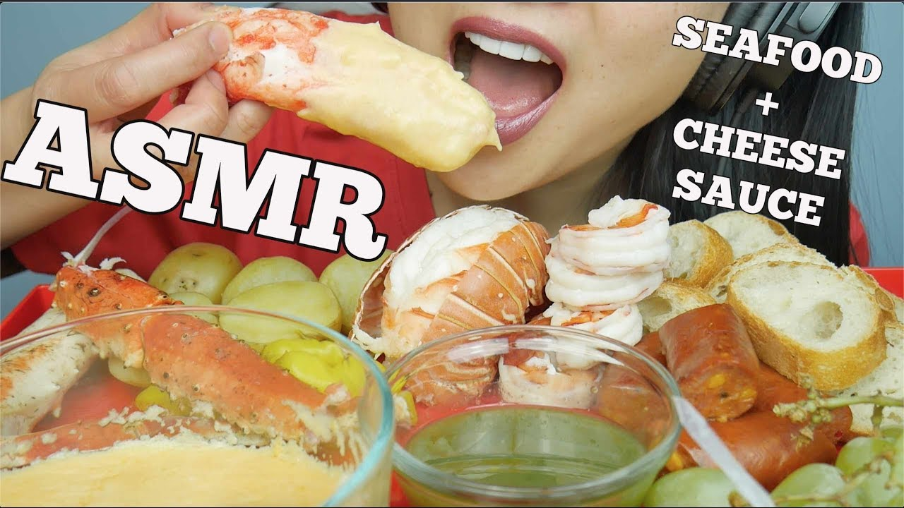 ASMR SEAFOOD *CHEESE Fondue (King Crab + Lobster + Prawns + Sausage) EATING SOUNDS | SAS-ASMR