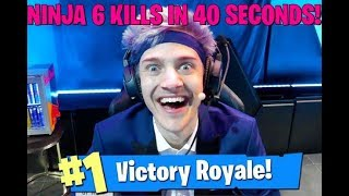 NINJA GETS 6 KILLS IN 40 SEC! VBUCK GIVEAWAY! Fortnite highlights funny moments