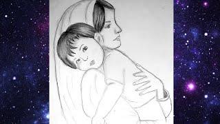 تعليم الرسم بالرصاص رسم أم مع طفلهاhow To Draw A Mother And Her Baby Youtube