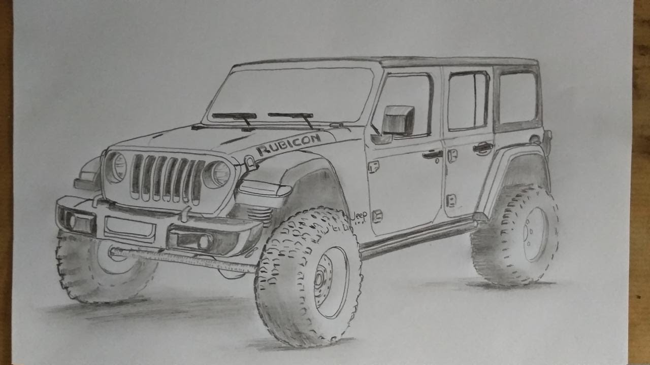 Cara Menggambar Mobil Jeep Wrangler Rubicon How To Draw A Jeep Wrangler Rubicon Car Youtube