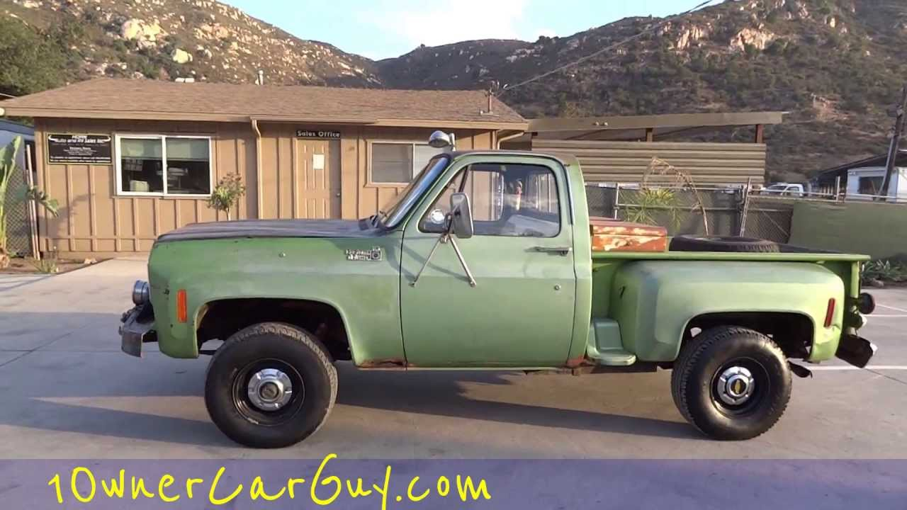 Manual Trucks For Sale >> 1975 Chevy K10 Stepside 4x4 Manual 350 V8 Pickup Truck Classic Project Video 1