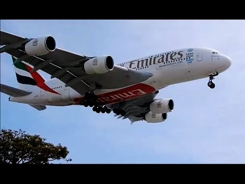 5 Airbus A380 Landing at LAX - Los Angeles California