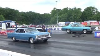 MDIR Race 1966 Chevy II vs 1975 Duster East Coast Pro Street Nationals Drag Track Acton DGTV Cars