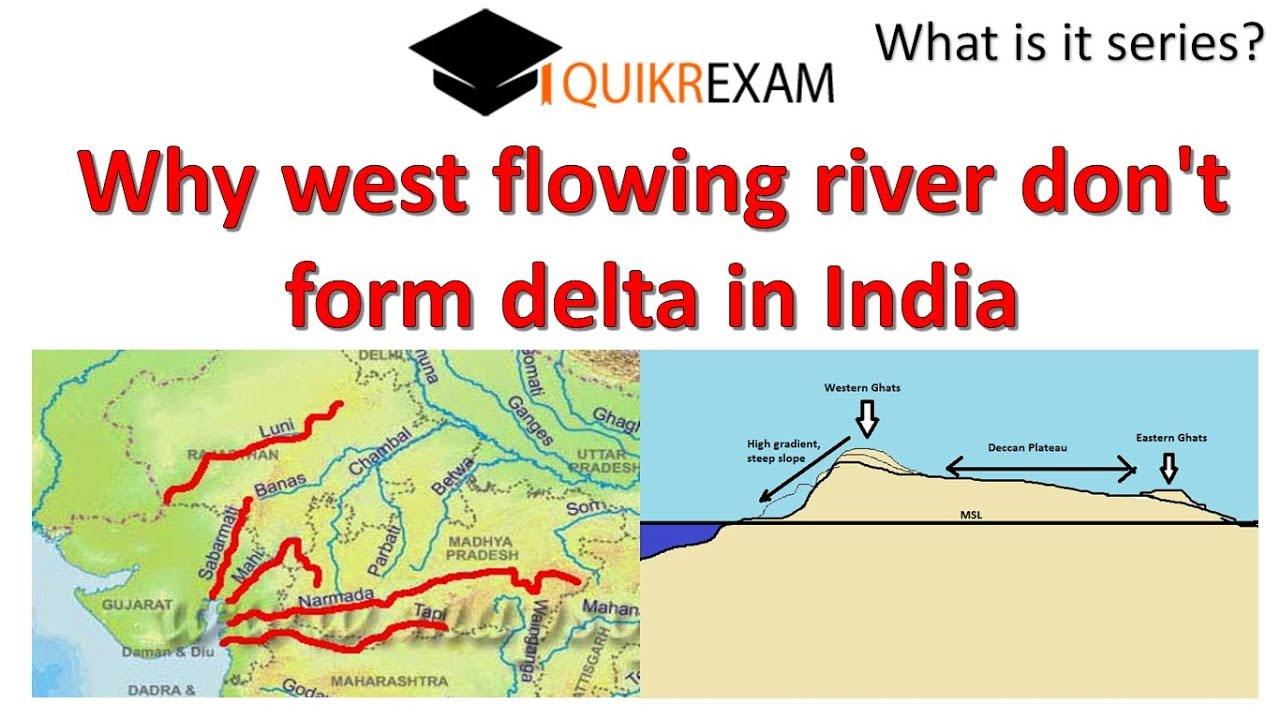 Why west flowing river don't form delta in India ? - YouTube
