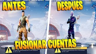 tutorial! How to pass SKINS and PAVOS from one ACCOUNT to OTHER FORTNITE! FORTNITE ACCOUNT FUSION!