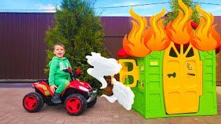 Малыш чинит квадроцикл и Весело катается на детском квадрике