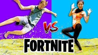 WASSER SLIDE FORTNITE DANCE YOGA CHALLENGE IN REAL LIFE (Alle neuen Tänze) vs Chad Wild Clay