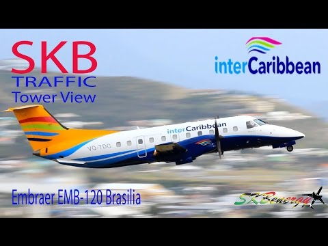 InterCaribbean Embraer EMB 120 Brasilia in action @ St. Kitts R.L.B Int