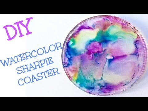DIY Watercolor Sharpie Coasters   Craft Klatch Another Coaster Friday