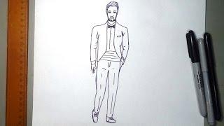 Cómo dibujar un esmoquin traje con corbatin o smoking