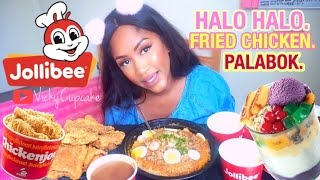 VickyCupcake 🍰EATING SHOW !: Filipino food Ep1. JOLLIBEE + Halo Halo dessert | MUKBANG | ASMR