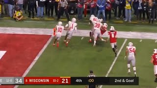 HUGE Hit on the final play of the Ohio State-Wisconsin Big Ten Championship Game