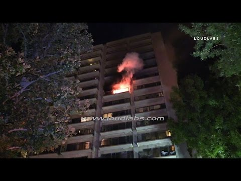 Four Alarm High Rise Apartment Fire / Riverside  RAW FOOTAGE