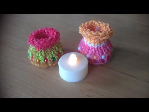 Rainbow loom: kaarsen houder voor (LED) waxine lichtje op batterijen (original design)