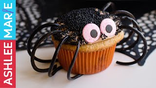 How to make chocolate caramel Spider Cupcakes - Halloween Baking Championship - challenge 1