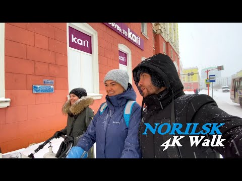 ⁴ᴷ⁶⁰ Walking in Norilsk City, going to buy some burgers   12 October, 2020, 13:30, -2°C