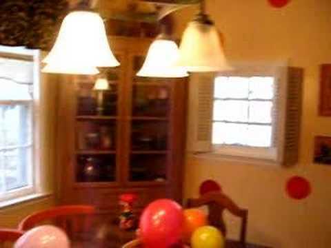 Katie in her highchair on her 1st birthday