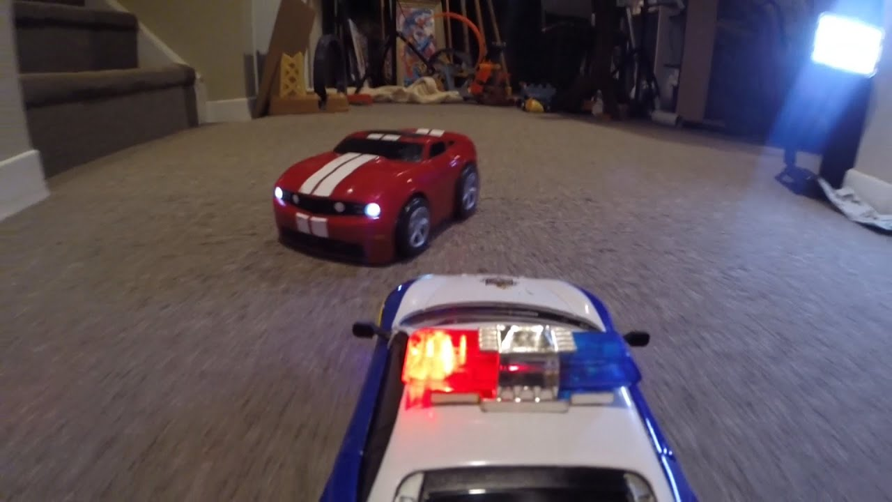 Rc Police Chase Monster Truck Action Crashes Toy Fun