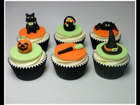 How to make halloween sugarpaste fondant cupcake topper for How to make halloween cupcake cakes